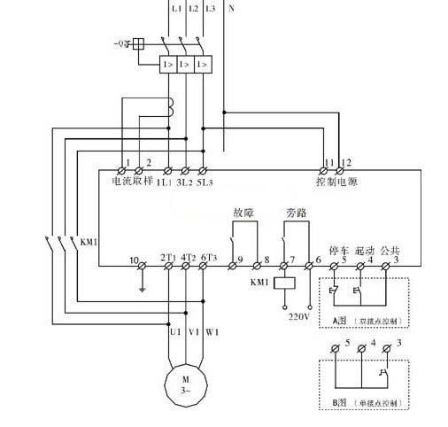 电机软启动器与旁路接触器控制回路接线图